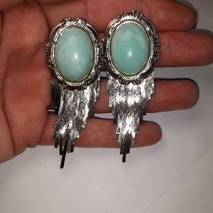 Vintage faux Turquoise and Silver tone earrings
